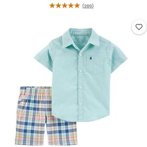 NWT Carter's 2-Piece Button Shirt & Short Set